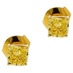 Graff, GIA Certified Cushion Cut Fancy Vivid Yellow Diamond Stud Earrings