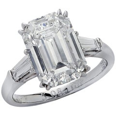 Graff GIA Certified Internally Flawless 5.08 Carat Emerald Cut Engagement Ring