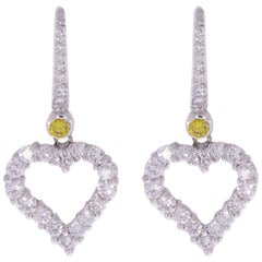 Graff Heart Silhouette White Gold 1.62 Carat Round Diamond Drop/Dangle Earrings