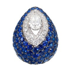 Graff Impressive Sapphire Diamond Bombe Ring in 18K Gold, 'As New' with Box