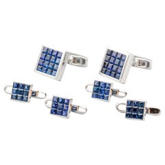 Graff Invisible Set Sapphire and 18k White Gold Stud Set