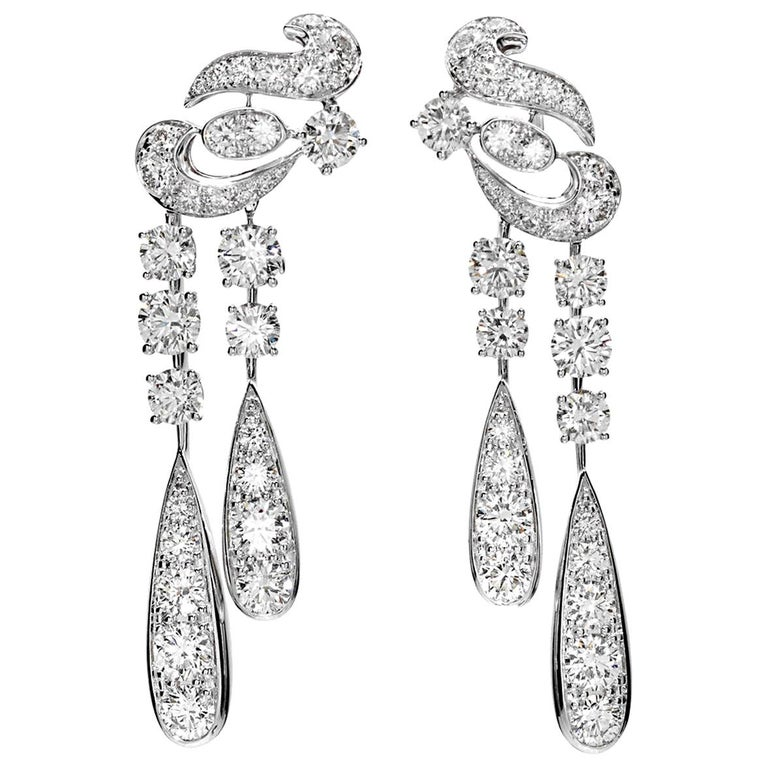 Graff Magnificent Chandelier Diamond Drop Earrings For Sale