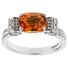Graff Orange Sapphire Diamond White Gold Cocktail Ring