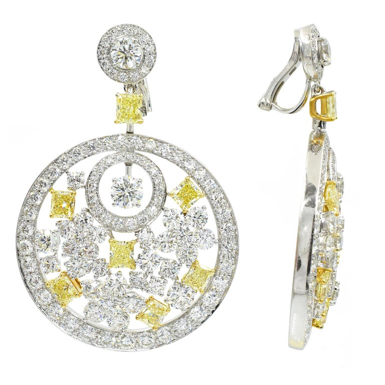 Round Cut Graff Pair of Diamond and Fancy Colored Diamond Pendant Ear-Clips For Sale