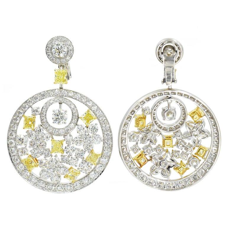 Graff Pair of Diamond and Fancy Colored Diamond Pendant Ear-Clips In Excellent Condition For Sale In New York, NY