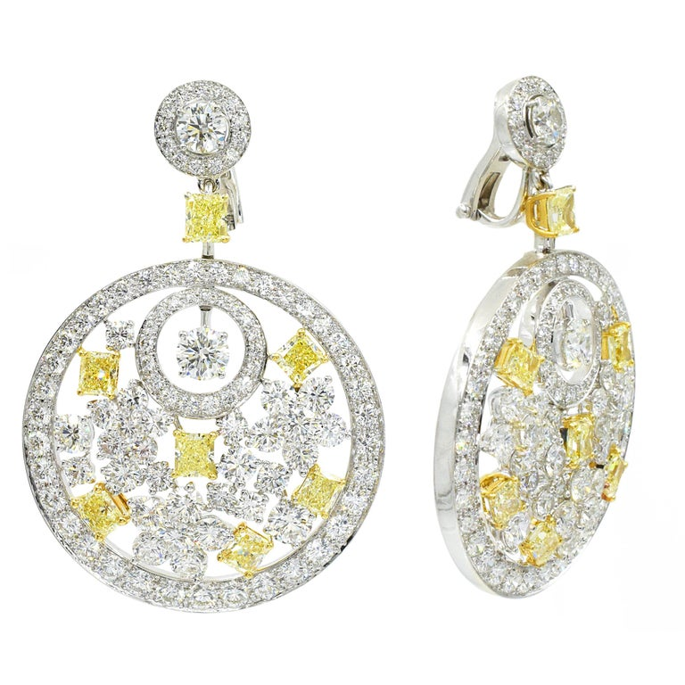 Women's Graff Pair of Diamond and Fancy Colored Diamond Pendant Ear-Clips For Sale