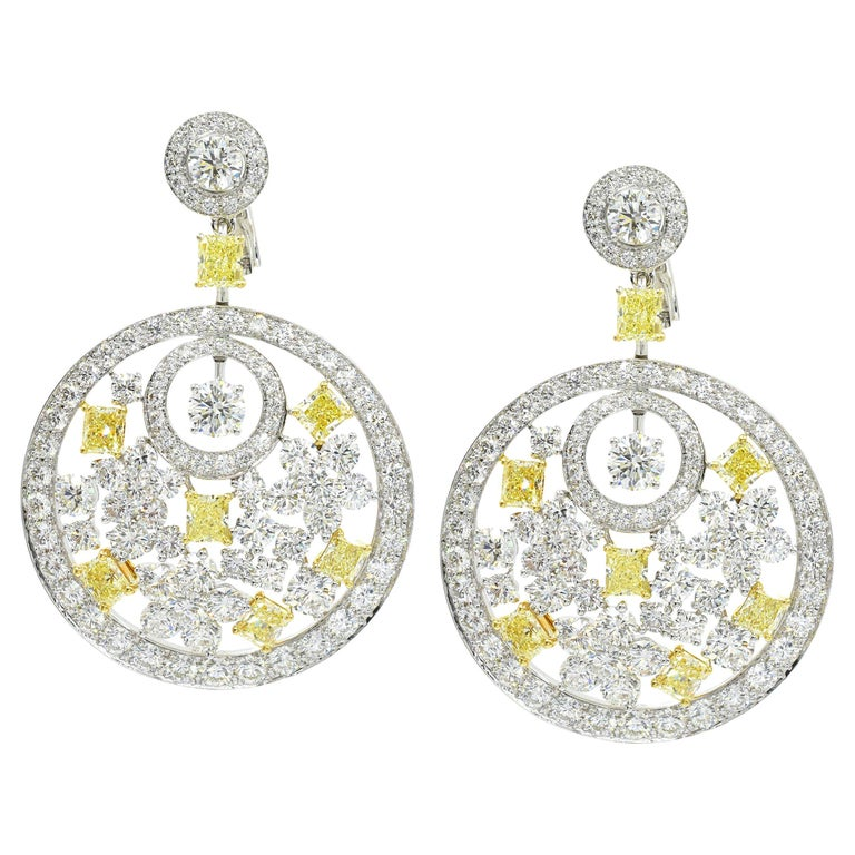 Graff Pair of Diamond and Fancy Colored Diamond Pendant Ear-Clips For Sale