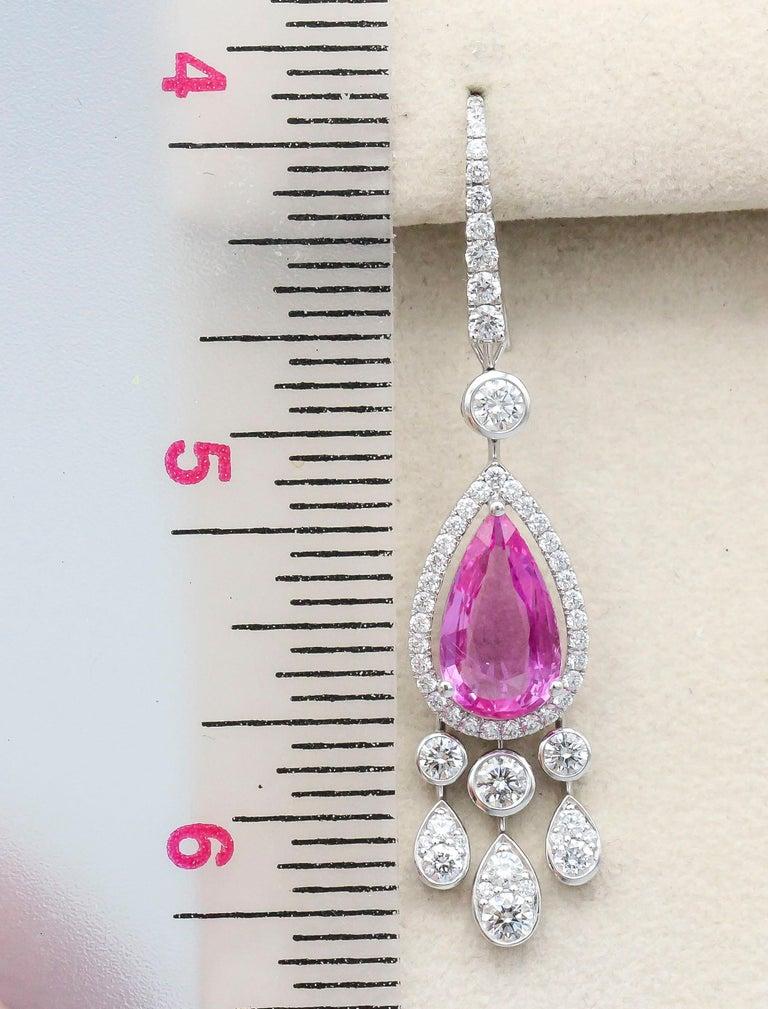 Round Cut Graff Pink Sapphire Diamond 18 Karat White Gold Drop Earrings For Sale