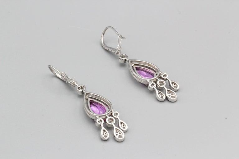 Graff Pink Sapphire Diamond 18 Karat White Gold Drop Earrings For Sale 1