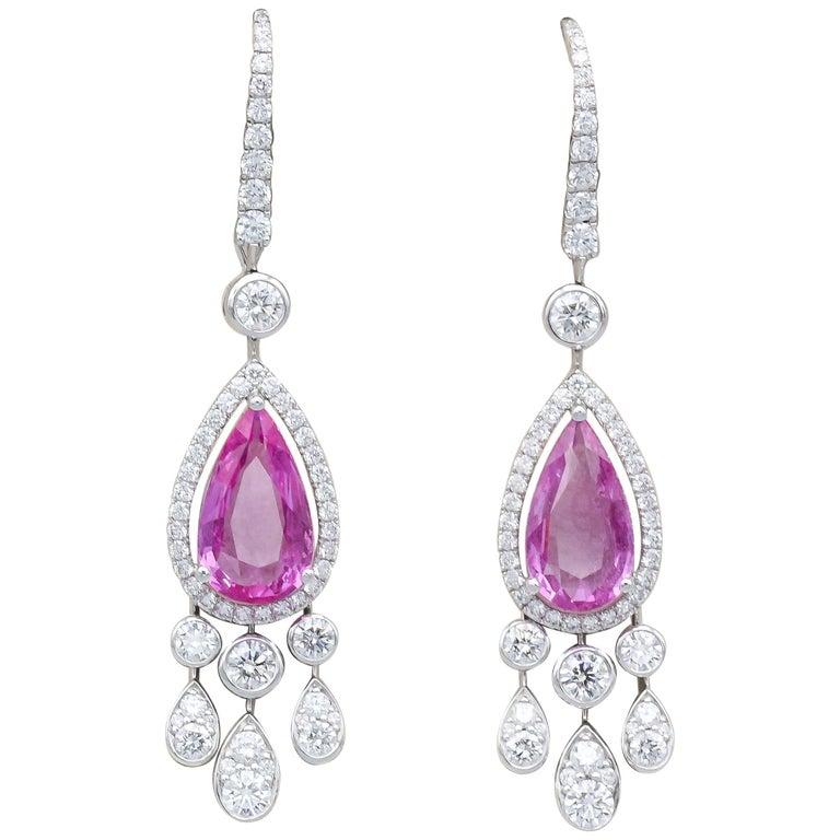 Graff Pink Sapphire Diamond 18 Karat White Gold Drop Earrings For Sale
