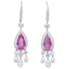 Graff Pink Sapphire Diamond 18 Karat White Gold Drop Earrings