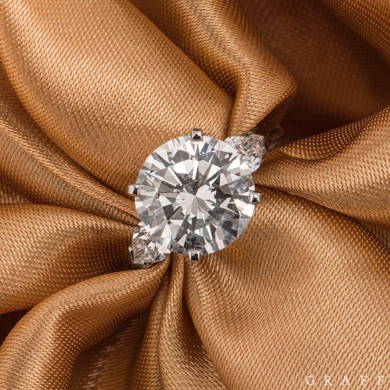 Graff Platinum Round Brilliant Cut Diamond Promise Ring 4.04 Carat GIA Certified In Excellent Condition For Sale In London, GB