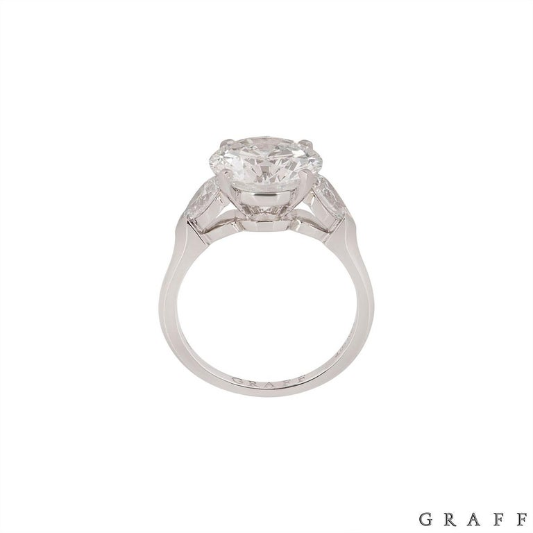 Women's Graff Platinum Round Brilliant Cut Diamond Promise Ring 4.04 Carat GIA Certified For Sale