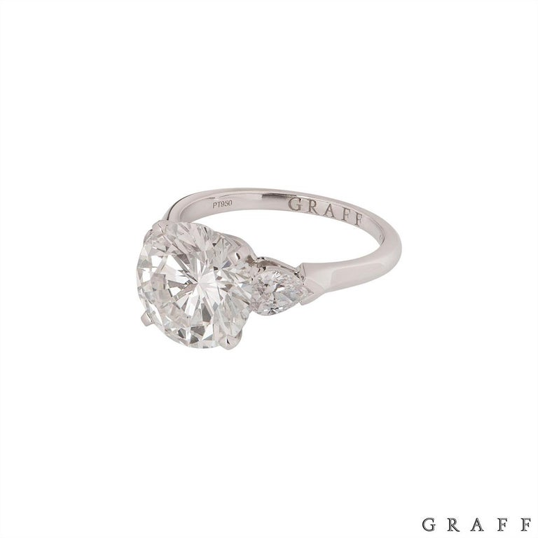 Graff Platinum Round Brilliant Cut Diamond Promise Ring 4.04 Carat GIA Certified For Sale 1