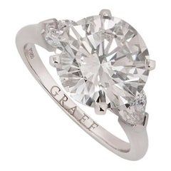 Graff Platinum Round Brilliant Cut Diamond Promise Ring 4.04 Carat GIA Certified