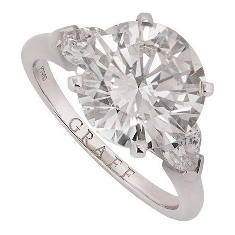 Graff Platinum Round Brilliant Cut Diamond Promise Ring 4.04 Carat GIA Certified For Sale