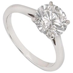 Graff Platinum Round Brilliant Cut Diamond Ring 2.02 Carat GIA Cert