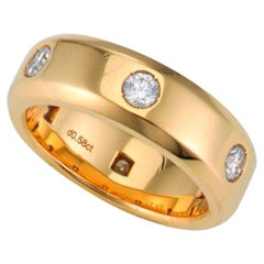 Graff Round Brilliant Diamond Full Eternity Wedding Band Ring Yellow Gold, 2000s