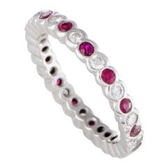 Graff Ruby and 0.50 Carat Diamond Platinum Eternity Band Ring