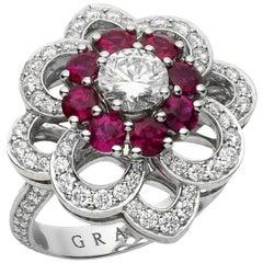 Graff Ruby and Diamond Cocktail Platinum Ring