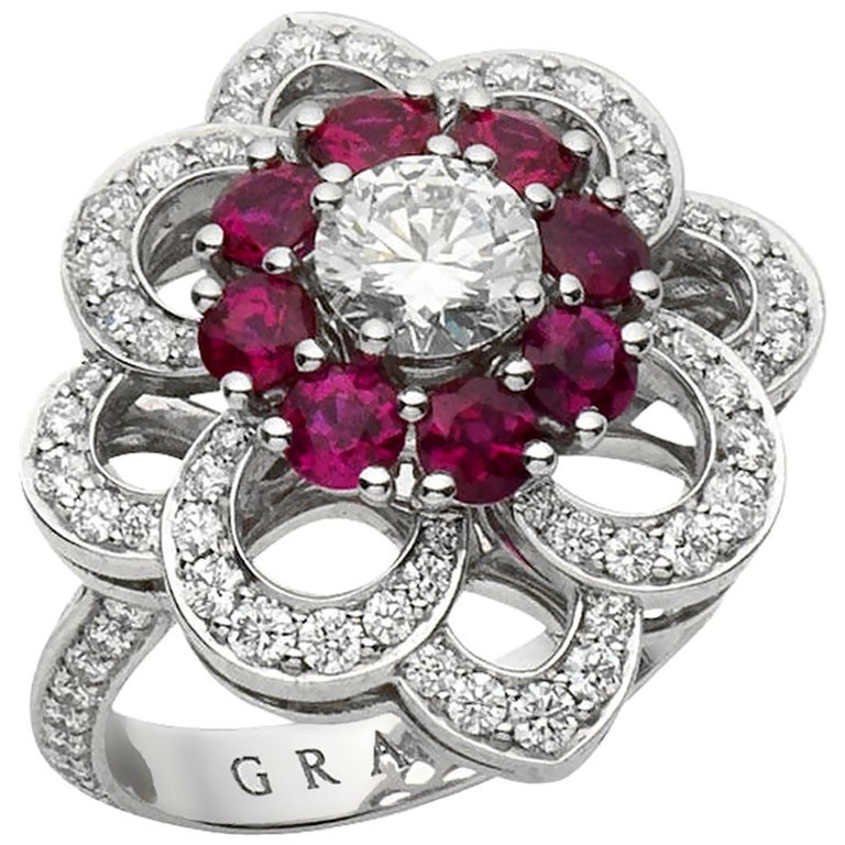 Graff Ruby and Diamond Cocktail Platinum Ring For Sale