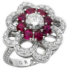 Graff Ruby and Diamond Cocktail Platinum Ring