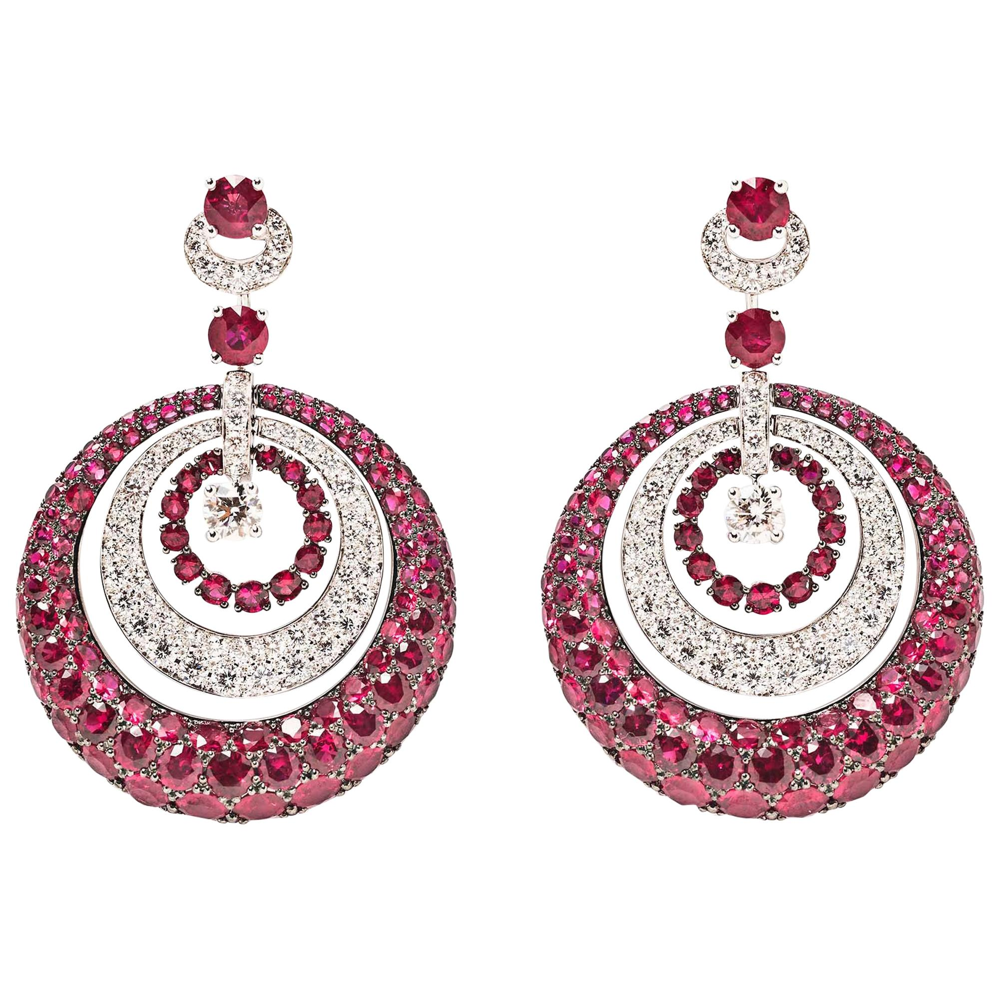 Graff Ruby and Diamond Pendant Earrings