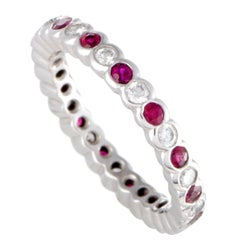 Graff Ruby and Diamond Platinum Eternity Band Ring