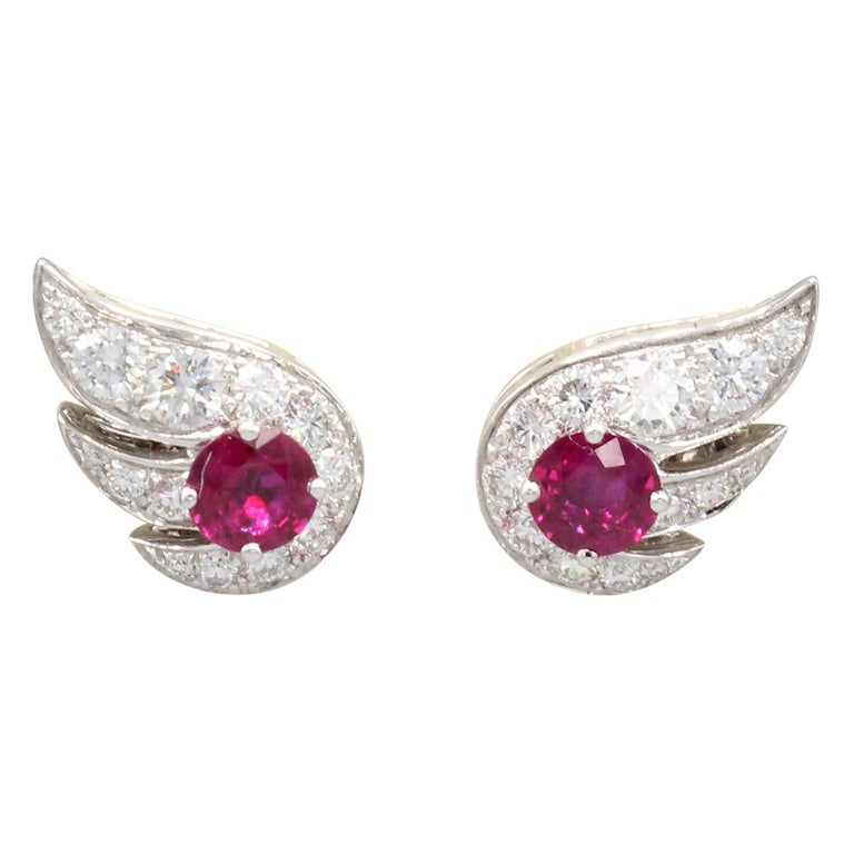 Graff Ruby Diamond 18 Karat White Gold Earrings For Sale
