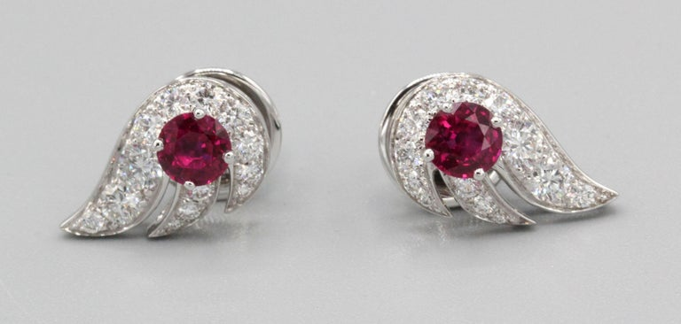 Round Cut Graff Ruby Diamond 18 Karat White Gold Earrings For Sale