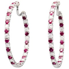 Graff Ruby Diamond and 18 Karat White Gold Inside Out Hoops Earrings