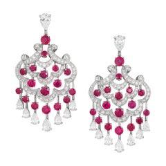 Graff Ruby Diamond Chandelier Earrings in 18 Karat Gold with Certificate & Box