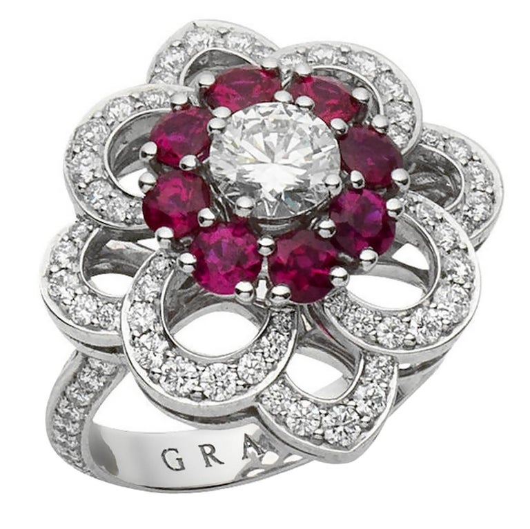 A magnificent Graff diamond cocktail ring showcasing a brilliant-cut diamond and ruby frame ppenwork floral frame. The ring has round brilliant cut diamonds running down both sides of the band mounted in platinum. Signed Graff, with a ring size of 4