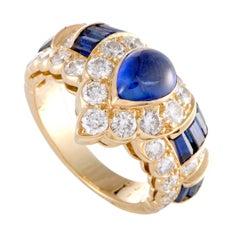 Graff Sapphire and Diamond Gold Band Ring