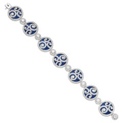 Graff Sapphire Diamond Bracelet in 18 Karat Gold with Certificate & Box 'As New'