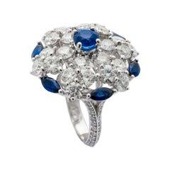 Graff Sapphire Diamond White Gold Cocktail Ring
