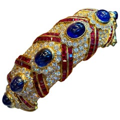 Graff Sapphire, Ruby, and Diamond Gold Bangle