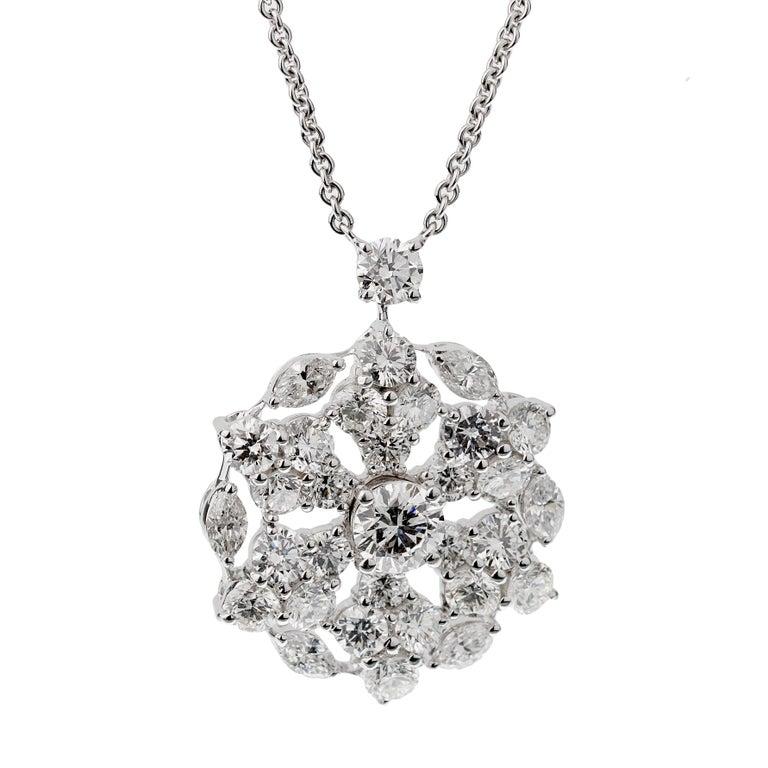 Women's or Men's Graff Snowflake 6.67ct Diamond White Gold Neckace For Sale