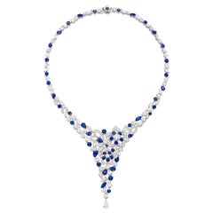Graff Superb Sapphire Diamond Necklace in 18k Gold with GIA Certificates & Case