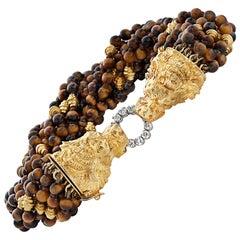 Vintage Graff Tiger's Eye Bead and Diamond Bracelet with 18KY Lion's Head Clasp