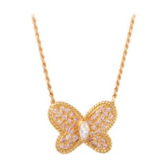 Graff White and Pink Diamonds and 18 Karat Gold Butterfly Pendant Necklace