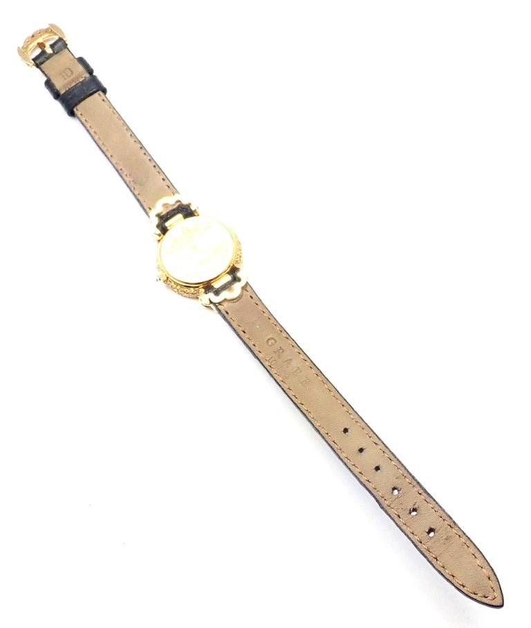 Graff White Pink and Yellow Diamond Ladies Yellow Gold Watch For Sale 5