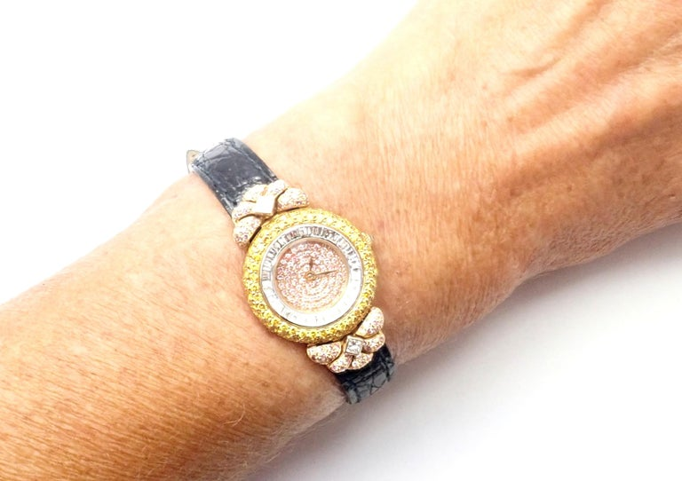 Graff White Pink and Yellow Diamond Ladies Yellow Gold Watch For Sale 6