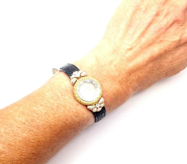 Graff White Pink and Yellow Diamond Ladies Yellow Gold Watch For Sale 7