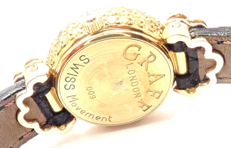 Brilliant Cut Graff White Pink and Yellow Diamond Ladies Yellow Gold Watch For Sale