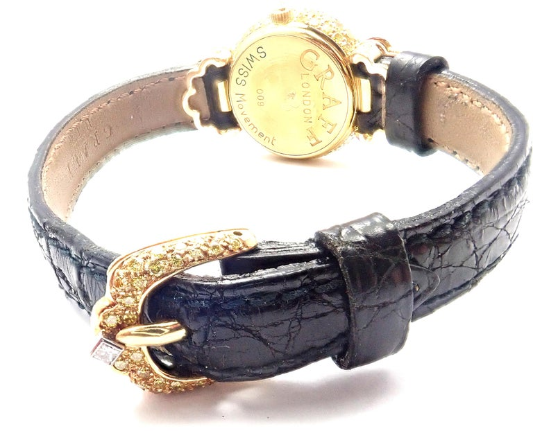 Graff White Pink and Yellow Diamond Ladies Yellow Gold Watch In Excellent Condition For Sale In Holland, PA