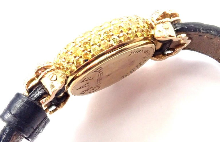 Graff White Pink and Yellow Diamond Ladies Yellow Gold Watch For Sale 1
