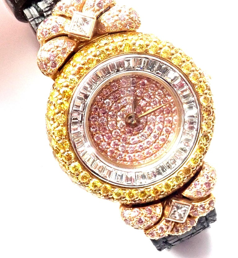 Graff White Pink and Yellow Diamond Ladies Yellow Gold Watch For Sale 2