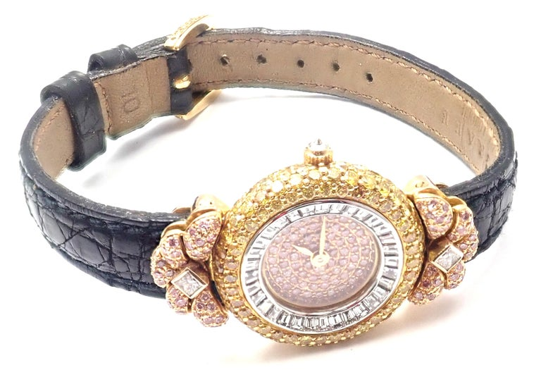 Graff White Pink and Yellow Diamond Ladies Yellow Gold Watch For Sale 3