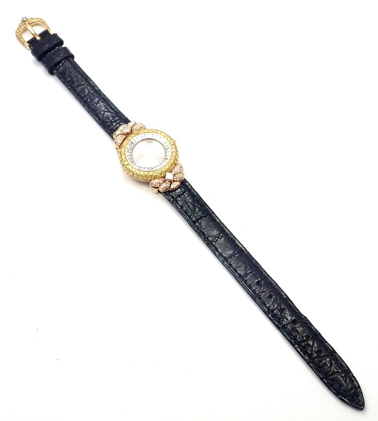 Graff White Pink and Yellow Diamond Ladies Yellow Gold Watch For Sale 4